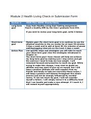 Module 2 Health Living Check-in Submission Form
