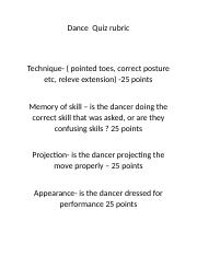 Dance  Quiz rubric