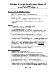 Biosocial & cognitive dvmt Handout--school years--chapter 9--FA09
