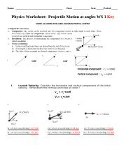 2_2016Projectile Motion WS1_KEY