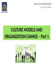 9. CULTURE MODELS AND ORGANIZATION CHANGE - Part 1-16-2A