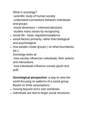 SOCIO2172 Class Notes What is sociology