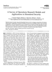 A survey operations research models and applications in homeland security