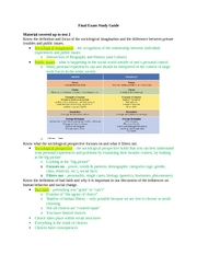Socy - Final Exam Study Guide gen