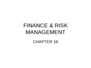 LECTURE 12  FINANCE  RISK MANAGEMENT