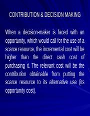 Lec 5 - Contribution and Decision Making