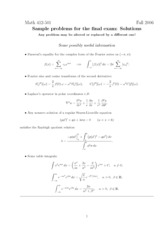 Final Exam Solution on Theory of Partial Differential Equations