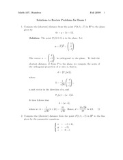 Exam 1 Review Problem Set Solution Fall 2009 on Vector Calculus