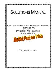 Cryptography and Network Security Book Solutions