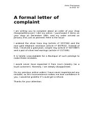 A formal letter of complaint