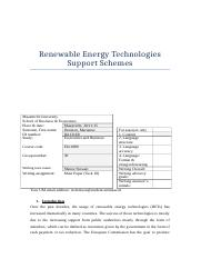 Renewable Energy Support Schemes Paper