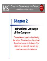 Uca2018 Chapter 02 Ppt Risc V D Computer Organization And Edition The Hardware Software Interface Chapter 2 Instructions Language Of The Computer Course Hero
