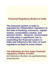 regulators in indian financial system