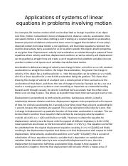 Applications of systems of linear equations in problems involving motion
