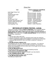 GCSE Fitness Tests - Info