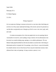 Philosophy writing assignment 2
