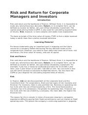 Risk and Return for Corporate Managers and Investors.docx