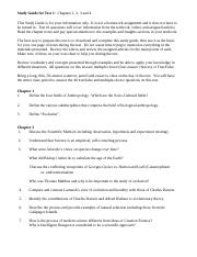 Anthro Test 1 Study Guide