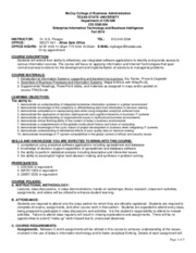Syllabus - CIS3380 Section 004 Fall 2014