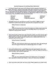 Defense Mechanisms Worksheet Pdf Course Hero