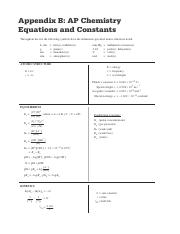 Ap Chemistry Equations And Constants Ap Chemistry Course And
