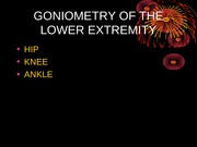 Kinesiology Goniometry of Lower Extremity