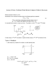 Lecture 10 Notes Nonlinear Finite Element Analysis of Solids & Structures