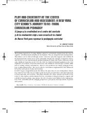 play and creativity at the center of curriculum and assessment