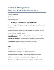 Personal Financial Mgmt, Net Worth, Assets, and Liabilities