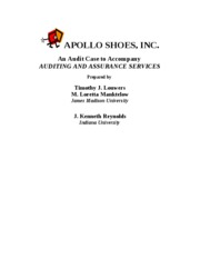 apollo shoes inc Read this essay on apollo case introduction apollo shoes, inc is an audit case designed to introduce you to the entire audit process.