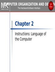 Chapter 02 Isa Ppt Computer Organization And Design 5 Edition Th The Hardware Software Interface Chapter 2 Instructions Language Of The Computer Course Hero