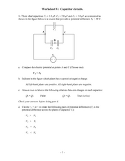 Recitation Worksheet V Solutions