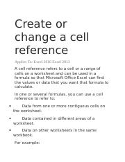 Create or change a cell reference