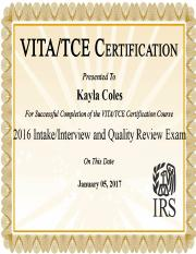 VITA- interview and intake certificate
