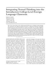 Hiram H. Maxim. 2006. Integrating textual thinking into the introductory college-level foreign langu