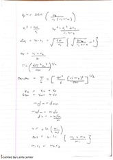 Dynamical Astronomy Formulae Exam Revision Notes