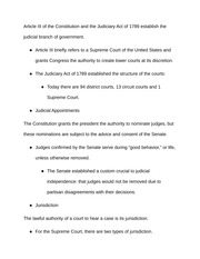 Notes on Article III