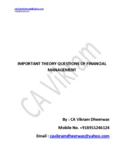 IMPORTANT THEORY QUESTIONS OF FINANCIAL MANAGEMENT
