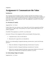 Assignment 4 Communicate the Value.docx