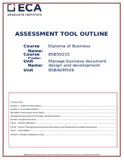 BSBADM506 Manage Business Document Design and Development - Assessment Tool NY(2).docx