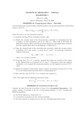 Homework 8 on Statistical Mechanics