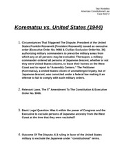 Korematsu vs. US (Case Brief 2)