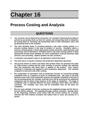 Process Costing and Analysis Outline
