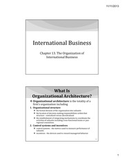 IB Chapter 13 - The Organization of International Business