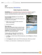 weathering gizmo answers key activity b