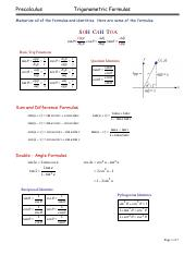 Precalculus Test 7 Review (2013)