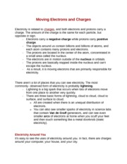 Moving Electrons and Charges Notes
