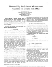 Observability analysis and measurement placement for systems with PMUs