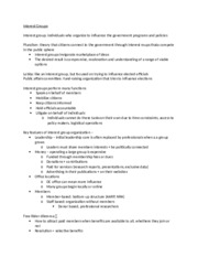 Poli Sci Study Guide- Interest Groups