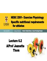 6.2 Specific Nutrition for athletes 2501 lecture 2015
